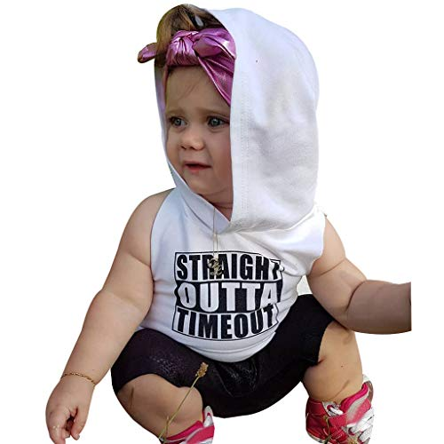 Kids Sleeveless Letter Printed Hoodies Tops Toddler Baby Boy Girl T-Shirt Clothes White
