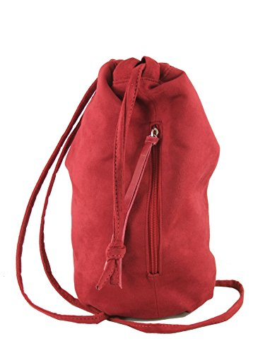 Red Dark Handbag LONI Suede Drawstring Faux Backpack nWY4W1fqH
