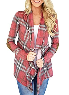 HOTAPEI Women's Plaid Printed Draped Irregular Open Front Long Sleeve Cardigans