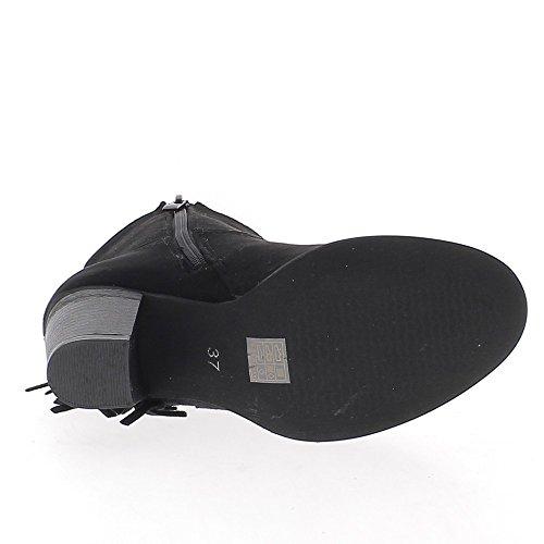 Schwarze Stiefel mit Fransen Dicke 7cm Wildleder look Ferse ausgekleidet