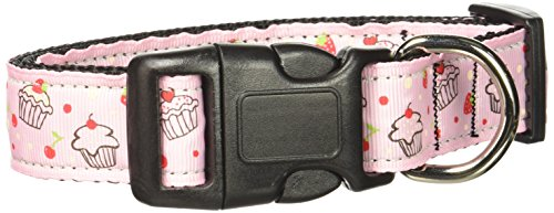 Mirage Pet Products Cupcakes Nylon Ribbon Collar for Pets, Medium, Light Pink