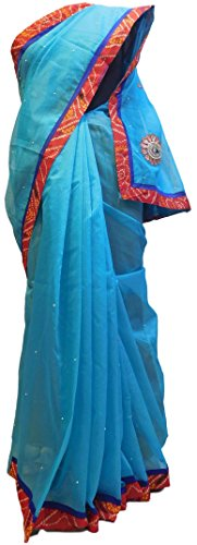 gner Hand Embroidery Supernet Saree Free Size Blue (Hand Embroidery Sarees)