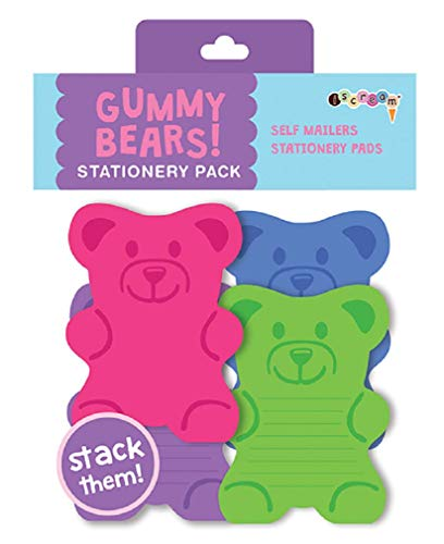 iscream Gummy Bears Stack and Send Creative Stationery Sheets with 12 Mailers