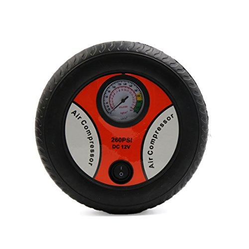 Uxcell a17010200ux0364 DC 12V Car Air Compressor Pump Tire Inflator Pressure Gauge w 3 Nozzle Adapters