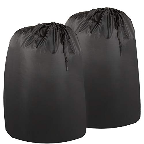 Wanapure 2 Pack Laundry Bags, Extra Large Nylon Travel Laundry Bag with Drawstring Closure and Rip Resistant Material, Black (28