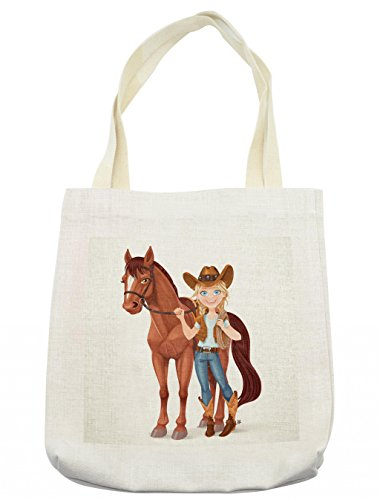 Lunarable Horse Tote Bag, Teen Girl Dressed as