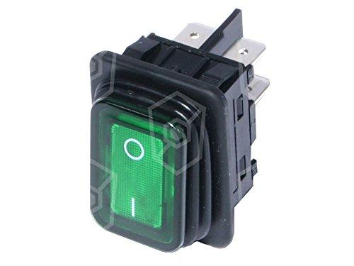 Bartscher Interrupteur à bascule pour friteuse 250V 20A 2pôles 2NO Vert 0/I Dimensions d'encastrement lumineux 30x 22mm Connexion Cosses 6, 3mm