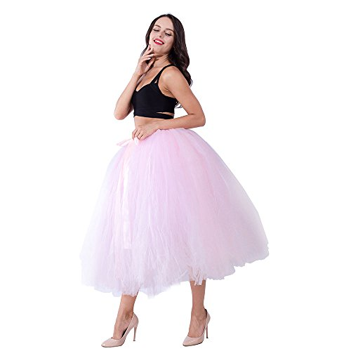 Party Train Handmade Tutu Tulle Skirt 80cm Long Overskirt for Adult Photography Wedding Pink