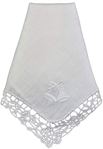 Thomas Ferguson Irish Linen - Ladies' Wedding Bells Lace Corner Handkerchief A316, White ()