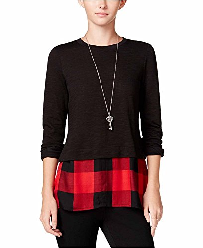 Maison Jules Womens Stretch Layered Casual Top Black L from Maison Jules