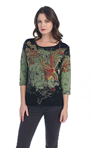 Katina Marie Chinese Phoenix 3/4 Sleeve Rhinestone Accent Scoop Neck Cotton Top