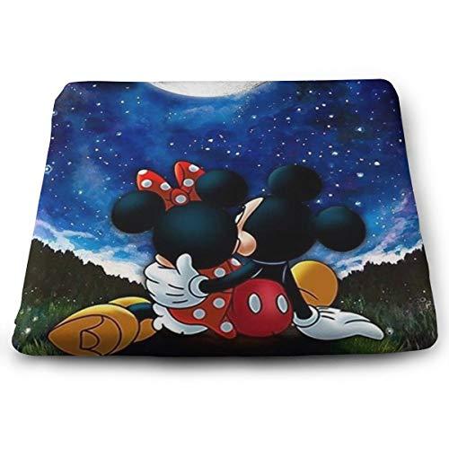ljnuan Chair Pads- Non Slip Square Chair Cushion Comfort Memory Foam Mickey in The Moon Thicken Seat Cushion Pillow