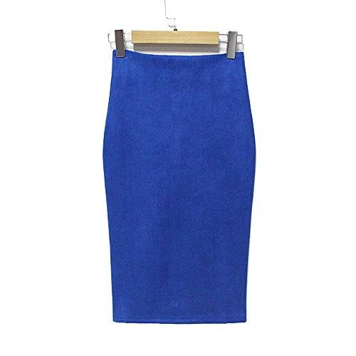 Newport Spandex Skirt - YoungG-3D High Street Women Suede Pencil Midi Skirt Spring Autumn Winter Basic Tube Bodycon Skirts Blue S