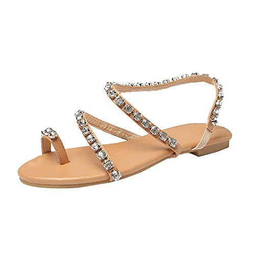 ❤️ Mealeaf ❤️ Fashion Women Summer Shoes Party Sexy Casual Crystall Beaded Flat Bottom Sandals(Brown,38) ()