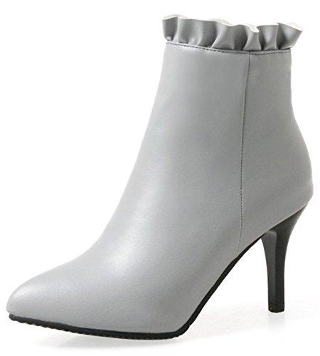 Aisun Kvinners Sexy Laciness Inne Zippe Dressy Spisse Tå Sokker Høy  Stiletto Hæl Ankel Boots Grå