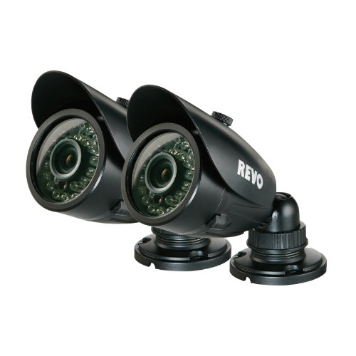 REVO America RCBS30-3BNDL2 Indoor/Outdoor Bullet Surveillance Camera with Night Vision (Black), 2-Pack ()