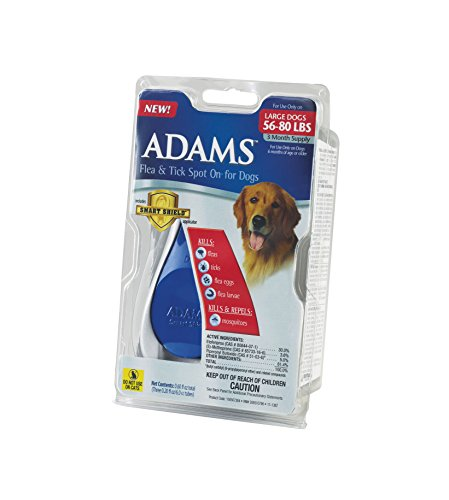 Adams Flea and Tick Spot On for Dogs, Large Dogs 56-80 Pounds, 3 Month Supply, With Applicator
