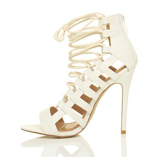 Sandals Women Heel Ajvani Ghillie White High Shoes Matte Size PZIZd6q