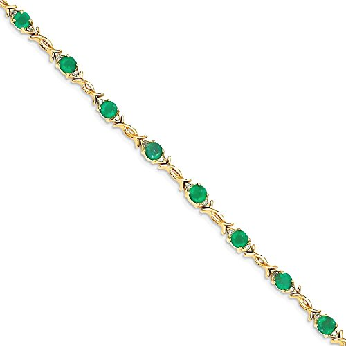 ICE CARATS 14k Yellow Gold Diamond Green Emerald Bracelet 7 Inch Gemstone Fine Jewelry Gift Set For Women Heart by ICE CARATS