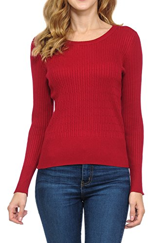 LoveInStyle Women's Long Sleeve Cable Knit Crew Neck Classic Sweater Classic Cable Crewneck Sweater