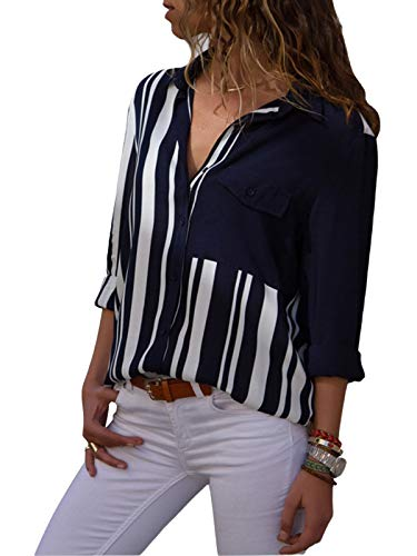 (MISSLOOK Women's Stripes Button Down Shirts Roll-up Sleeve Tops V Neck Casual Work Blouses - Navy Blu S)