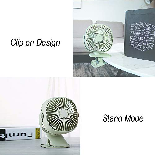 Battery Operated Clip on Stroller Fan with Light- Mini Portable Desk Fan with Rechargeable Battery Powered Fan for Baby Stroller, Outdoor Activities (Green) by GuanZo (Image #6)