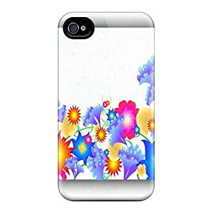 Tpu Case Cover Compatible For Iphone 4/4s/ Hot Case/ Vector Flowers