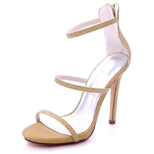 L@YC Frauen Peep Toe High Heel 7216-05C Hochzeit Party Schuhe Braut Party Golden