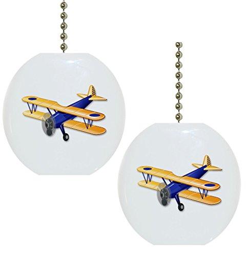 Set of 2 Blue Airplane Biplane Solid Ceramic Fan Pulls