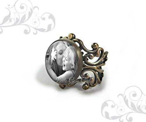 Picture Jewelry High Quality Vintage Bronze or Silver Filigree Adjustable Size Setting Custom Photo Ring Personalized with Your Own Image