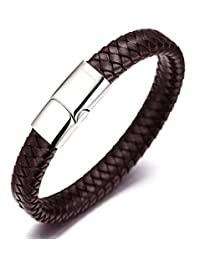 """Halukakah """"SOLO"""" Men's Genuine Leather Bracelet with Titanium Clasp with Magnets 8.46""""(21.5cm) with FREE Giftbox(Brown)"""