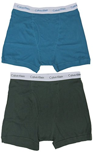 Calvin Klein Men's Boxer Briefs, Size X-Large, Green/Teal, (Pack of 2) (Calvin Briefs Knit Boxer Klein)