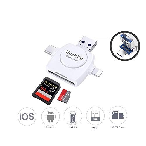 HonkTai USB Type C Card Reader, SD/SDHC/SDXC/TF Card Reader Compatible iPhone X/8/8 plus/7/7 plus/6/6s/5 iPad & OTG Android (White)