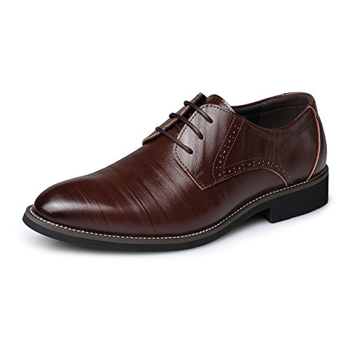In Uomo Stringate Iwgr Foderato Classiche Mocassini Pu Scarpe Fashion Formale Low Coffee Oxford Da Top Slipper Pelle EqHt48