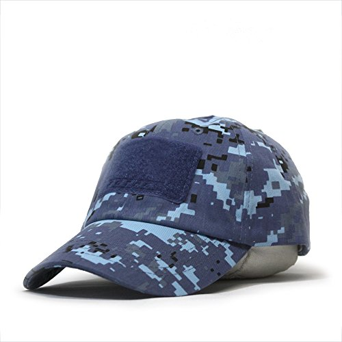 Vintage Year US Military Tactical Operator Adjustable Cap with Loop Patches (Sky Blue Digital Camo)