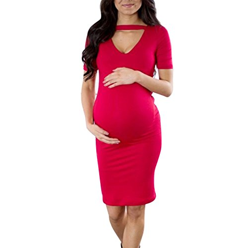 Women Tunic Tops Dresses Lady Maternity Pregnant Solid Bodycon Flowy Short Sleeve Party Mini Dress (M, Red)