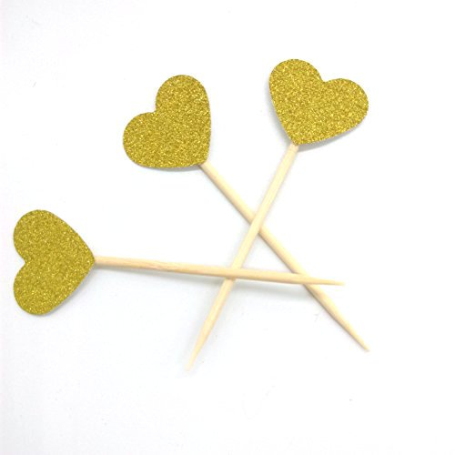 Anniversary Cupcake - Hemarty Gold Glitter Heart Mini Cupcake Toppers Cake Decorations Toppers Picks for Wedding and Baby Birthday 40PCS