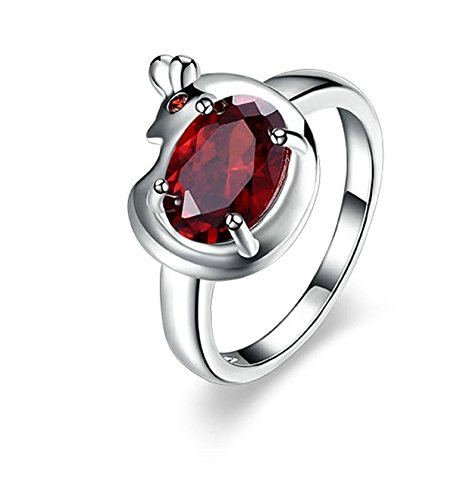 Epinki 925 Sterling Silver Women Ring Cubic Zirconia Red Solitaire Engagement Ring Size 8 Women Accessories by Epinki
