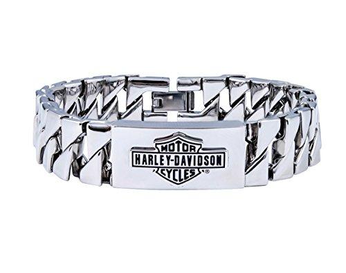 Harley-Davidson Mens Stainless Steel Trademark B&S Triangle Curb Link ID Bracelet (Men Harley Bracelet)