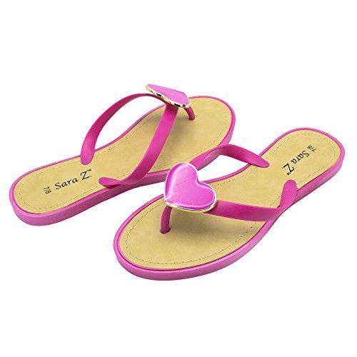 Sara Z Ladies PCU Flip Flop with Enamel Heart Ornament 11 Fuschia