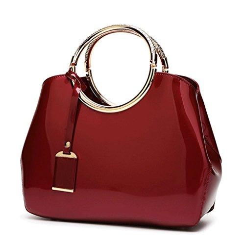 brillant Handbag épaule cuir A tout mariée fourre en à verni PU Sac 7 sac une Couleur main de cuir femmes de en rarqwf
