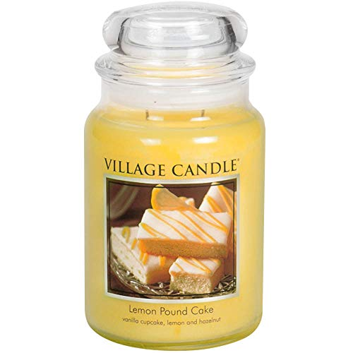 Village Candle Lemon Pound Cake 26 oz Glass Jar Scented Candle, Large