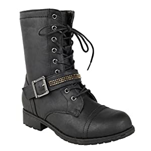Fashion Thirsty Womens Flat Low Heel Lace Up Army Military Biker Zip Ankle Boots Size 11