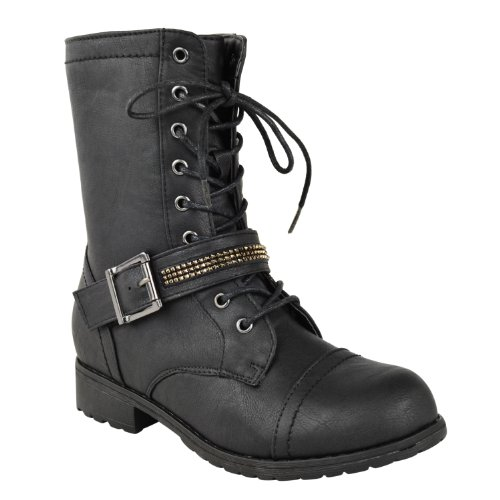 Fashion Thirsty Womens Flat Low Heel Lace up Army Military Biker Zip Ankle Boots Size 7