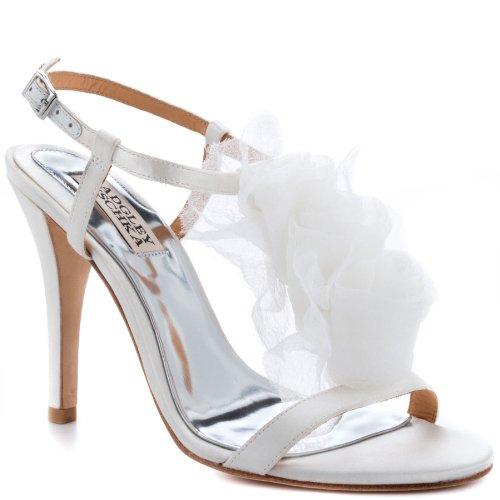 Badgley Mischka Women's Cissy T-Strap Sandal,White Satin,6.5 M US