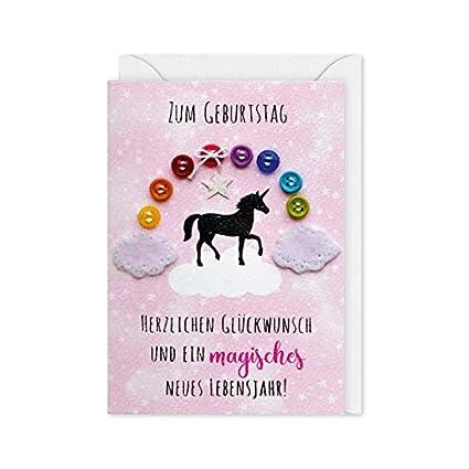 Tarjeta de botón 64 - Unicornio - Cumpleaños - Tarjeta Midi ...