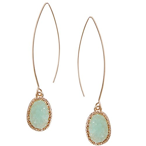 Humble Chic Simulated Druzy Needle Drops - Gold-Tone Threader Upside-Down Hoop Dangle Earrings for Women, Aqua, Simulated Aquamarine, Mint, Simulated Jade, Gold-Tone -