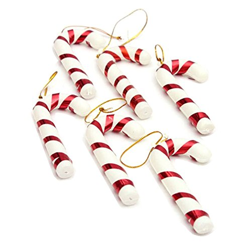 6pcs/set 2016 Xmas Hanging Candy Cane Christmas Party Decoration Mini Crutch For Christmas Tree Ornament (Red)