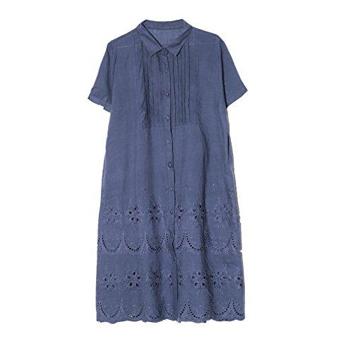 langärmelige casual kurzärmelige hemd rock aus bestickter bestickten kleid