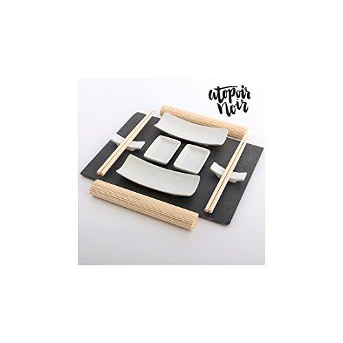 Set de Sushi con Bandeja de Pizarra Atopoir Noir (11 piezas): Amazon.es: Hogar